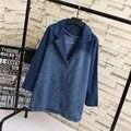 K7 Outono Mulher Roupas Casuais Mulheres Denim Trench Coat Plus Size 4XL Manga Comprida tailored collar Outerwear DO VINTAGE