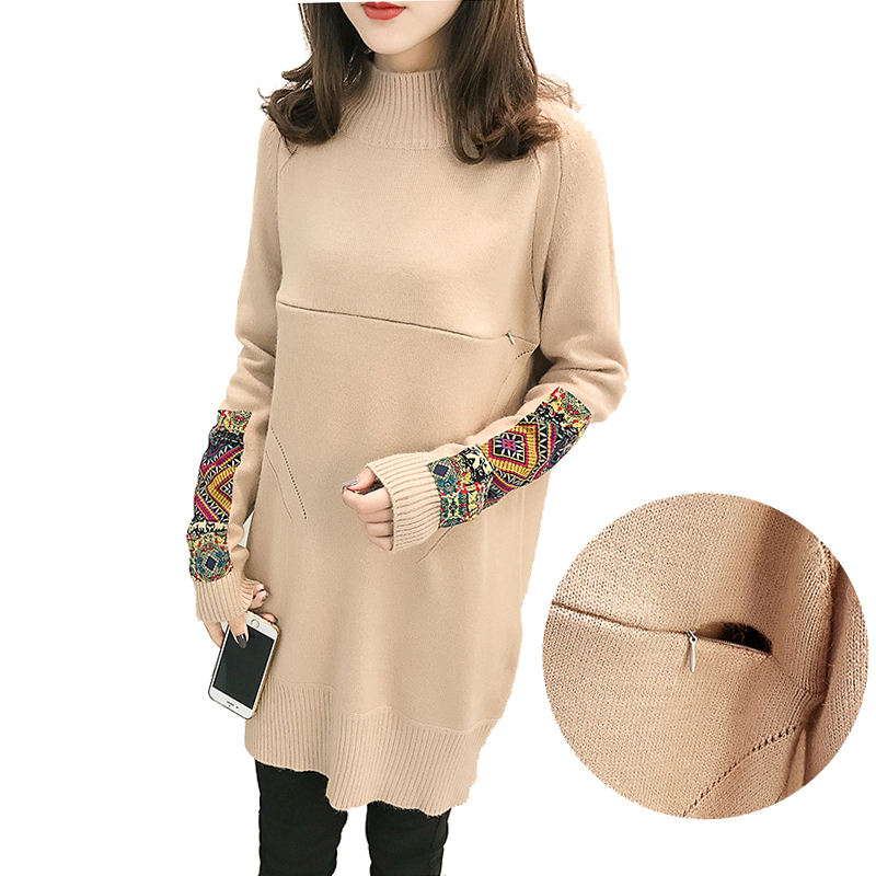 Maternity Nursing Sweater Dress Plus Size Breastfeeding Pattern Knit Dresses for Pregnant Women Pregnancy Autumn Fashion Clothes недорго, оригинальная цена