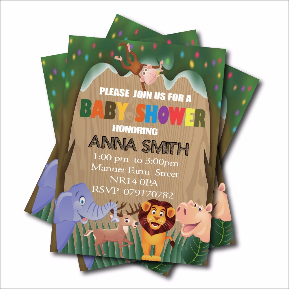 20 pcs/lot Jungle Safari Baby Shower Invitations Woodland Birthday ...