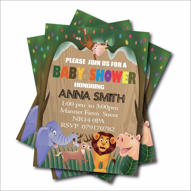 20 pcslot jungle safari baby shower invitations woodland birthday invites baby announcement card party - Baby Announcement Cards