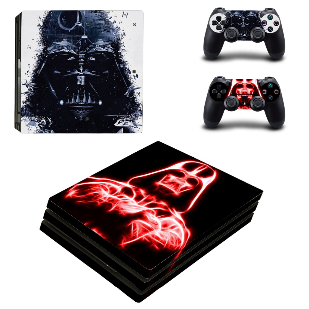 OSTSTICKER Red and white Wars Vinyl Skin Sticker for Sony PS4 Pro Console and Controllers Skins Decal