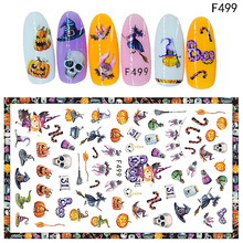 2Pcs Halloween Nail Art Stickers 3d Self Adhesive Sticker Paper Decals Wraps Christmas Decorations For DIY Manicure Tools