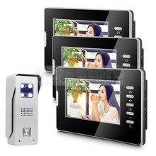 DIYSECUR 7″ Video Door Phone Intercom System 1Camera + 3Monitors For Villa Home Office