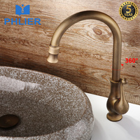 PHLIER Bathroom Basin Faucet Roman Antique Brass Water Tap Swivel 360 Degree Single Handle Bathroom Taps