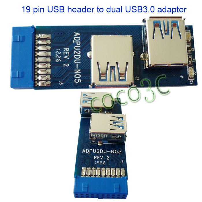 Купить Free Shipping I Tpye Usb 3.0 Hub 19Pin Usb 3.0 Header To Dual Usb3.0 A Female Port Converter Card Usb3.0 Adapter