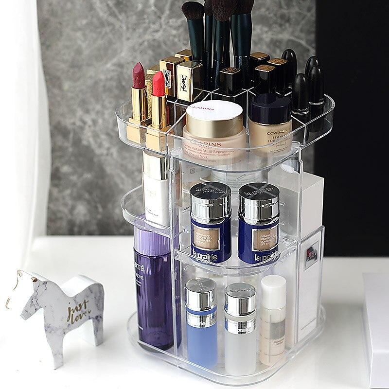 uk availability d3771 12e53 US $27.0 |A1 Rotary cosmetic box transparent acrylic dressing table  lipstick skin care product desktop shelf beauty finishing LU8311420-in  Storage ...