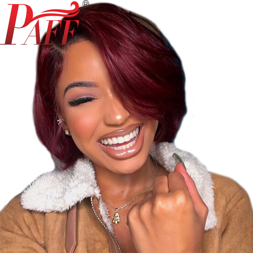PAFF Ombre 99J Short Human Hair Bob Cut Wig Pre Plucked Two Tone Color Lace Front Wig Brazilian Hair Remy Straight