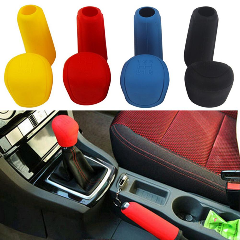 Car Styling Handbrake Grips Interior Universal Manual Gear Shift Collar Car Silicone Gear  Head Shift Knob Cover Car Hand Brake