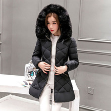 Производители 2016 зимнее пальто меховой воротник моды Девушки длинные женщины парки Тонкий толстый большой ярдов вниз ватник женщина 7455