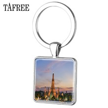 TAFREE The Mei Nan River Key Chain Beautiful Scenery Silver Plated Square keychains Keepsake Bag Car Pendant Jewelry FA474(China)
