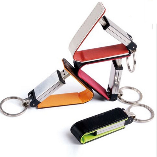 KeyChain עור 8GB 32GB 64GB 4 צבעים Pendrive Memory Stick Stick מתכת 3.0 USB Flash Drive 128GB 256GB 512GB Pendrives 16GB