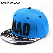Trend Snapback Bone Child Embroidery MAD Letter Baseball Caps Kid Boys And Girls Flat Hip Hop Cap цена