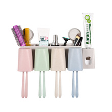 Bathroom Accessories Paste Type Wheat Straw Toothpaste Squeezer Multi-function Toothbrush Holder Brush Tooth Wash Cup Set