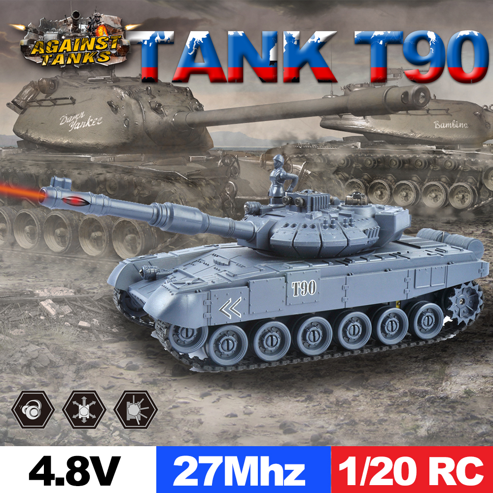 E T 1/20 RC Tank 9CH 27Mhz Infrared Battle T90 Cannon & Emmagee Remote Control Toys for Boys Chassis