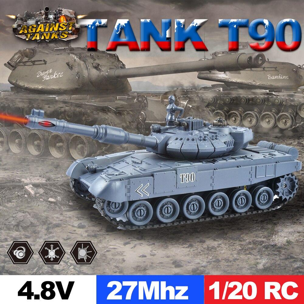E T 1/20 RC Tanque 9CH 27Mhz Infravermelho Tanque de Controle Remoto RC Tanque de Batalha T90 Canhão & Emmagee Remoto brinquedos para Meninos Tanque Chassis