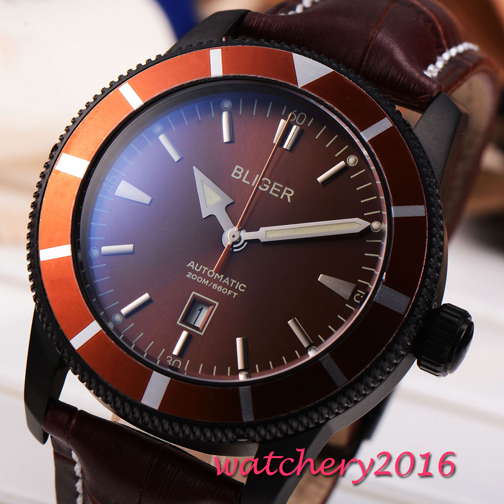 NEW Arrive e 46mm Bliger Brown dial PVD case Luxury Brand Leather strap Calendar Rotating Bezel Automatic movement men