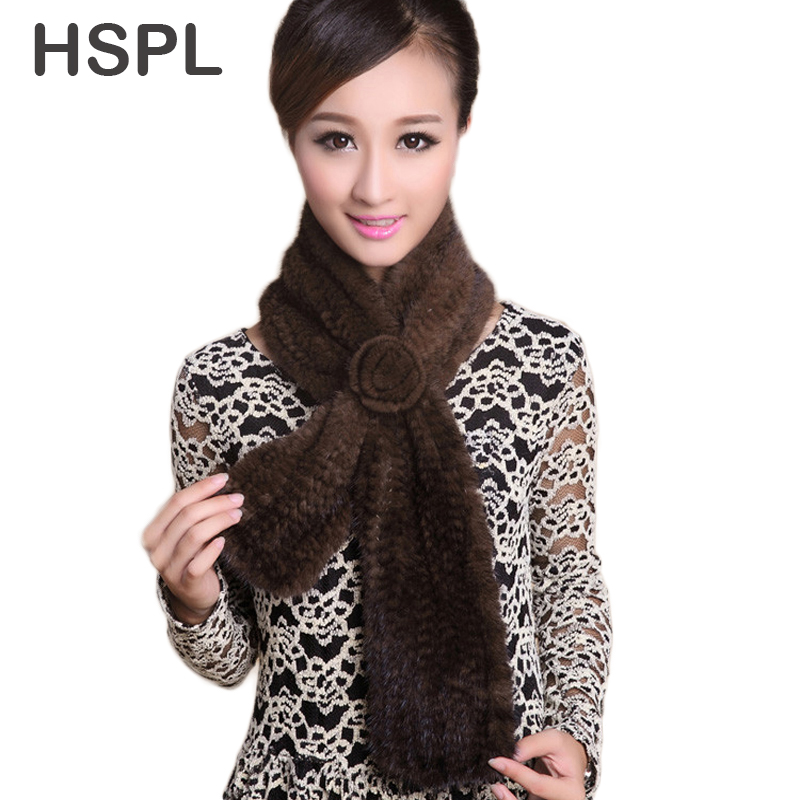 HSPL Wholesale Knitted Mink fur scarf with a flower Very warm  Natural  Fur Scarves