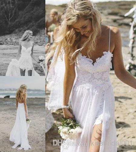 102cc50a2dc Sexy Fashion Galia Lahav White Summer Beach Wedding Dresses Lace Applique  Split A Line Spaghetti Straps Chiffon Wedding Dress