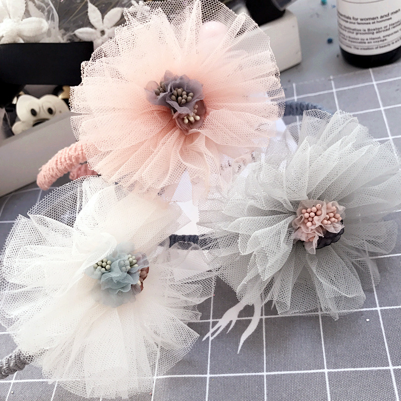 Korea Lace Flower Crown Hair Band Gauze Hair Accessories lovely Embroidery Headband for Girls Hair Band Hair Bow Princess ...
