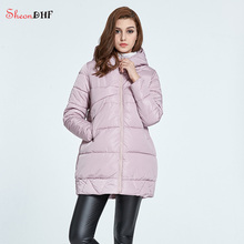 SheonDHF Down Parkas Women Mid-Long Hooded Cotton Padded Quilted Jacket Winter Female Cute Pink Jackets Winter Coat Women 2017