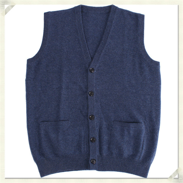 100%goat Cashmerev-v-neck Knit Men Fashion Solid Sleeveless Cardigan Vest Sweater H-straight Blue 2color S/2XL