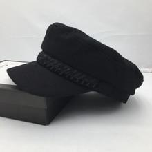 Autumn winter hats for women  Navy cap retro black cap wool, sailor hat society visors