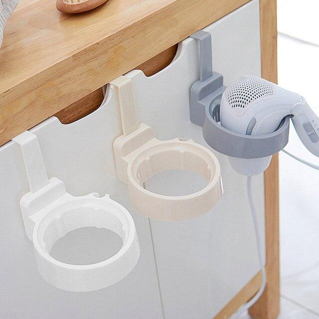 Bathroom Hair Dryer Stand Organizer Shelf Storage Hairdryer Rack Holder  Door Hook Ring Plastic For Home