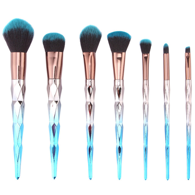 5/7pcs Professional Makeup Brushes Diamond Crystal Make Up Brushes Blue Hair Blending Brush Cosmetic Brush Set Pincel Maquiagem
