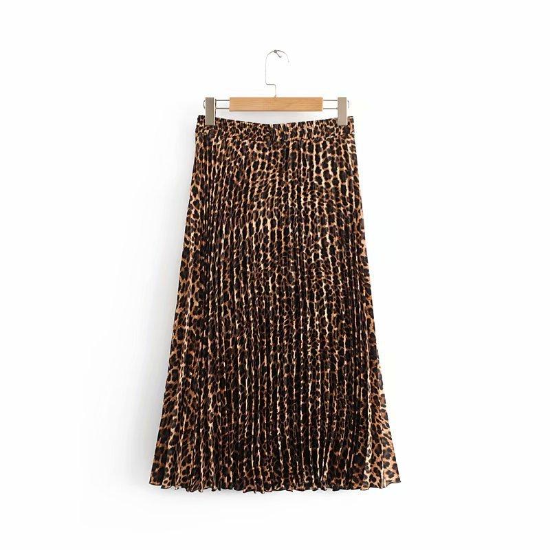 2019 Leopard Pleated Skirt with Bow Belt High Street Women Animal Print Midi Skirts 9