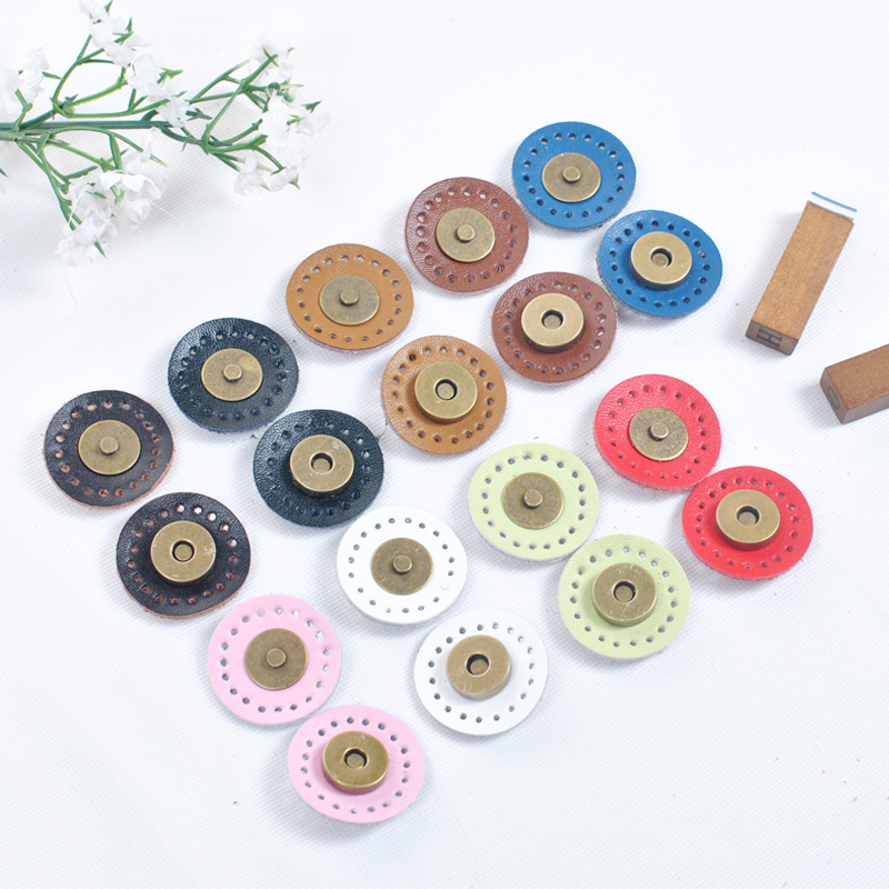 5 Sets Circle Sew-on Bag Wallet Magnetic Buckle Genuine Leather Bag Snap Buttons Handmade DIY Patchwork Lock Accessories KZ0268