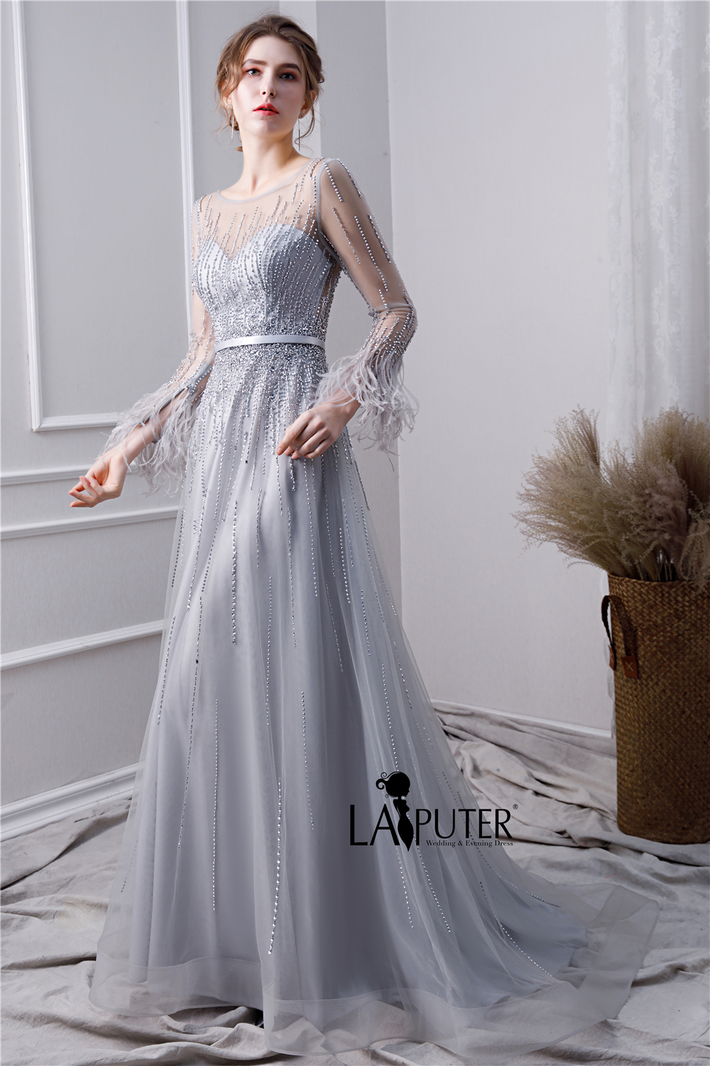 d70c79b14e2b1 LAIPUTER 2019 New Arrival Luxury Beading Prom Dress Silver A line ...