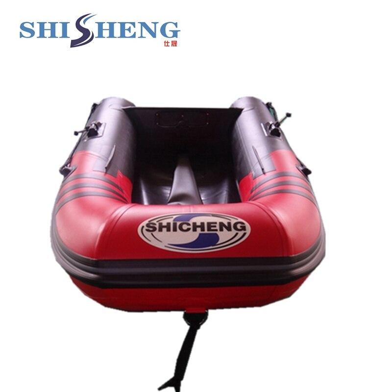 Petit bateau gonflable en caoutchouc rouge et noir CE pour la pêche - 2