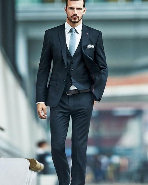 (Jacket+Vest+Pants) Mens Suits Wedding Groom Black Man Business Suit Latest Coat Pant Designs Tuxedos For Men Blazer Masculino