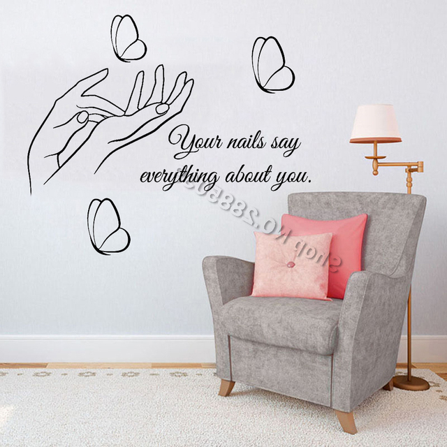 Butterfly Pedicure Chair Extra Wide Camping Nail Salon Quote Wall Decal Vinyl Stickers Diy Self Adhesive Decals Nails Polish Manicure Beauty Lc716