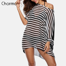 Charmo Women Cover-Up Beach Cover Up Kaftan Bikini Chiffon Tassel Striped Swimsuit Swimwear Sexy Bathing Suit