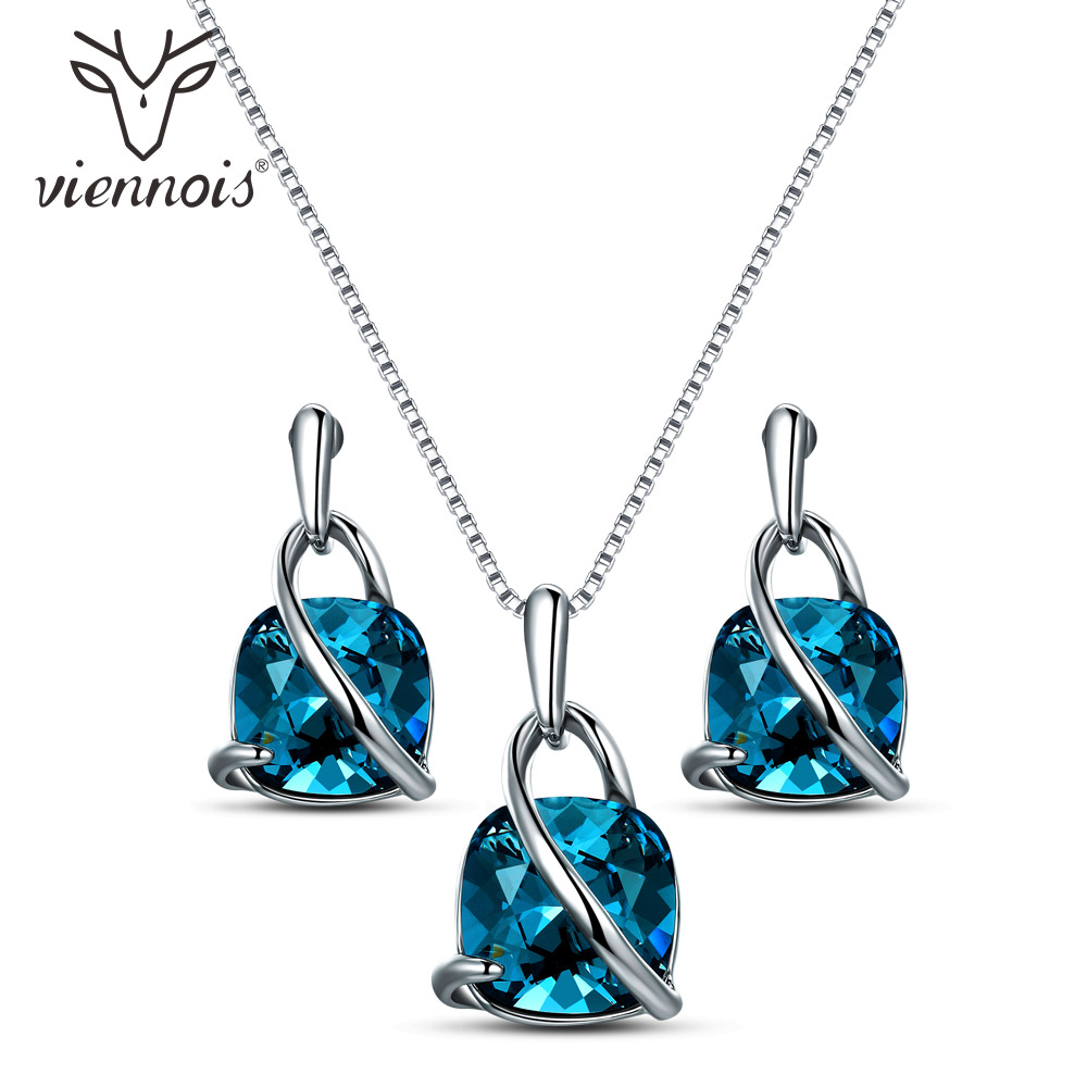 все цены на Viennois Fashion Blue Crystal From Women Jewelry Sets Trendy Dangle Earrings And Pendant Chain Necklace Sets
