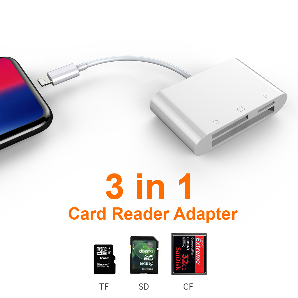 6in1 SD TF SDHC CF XD M2 Card Reader Charging Adapter for IPhone XS MAX XR 3in1 SD TF CF Card Writer for IPhone X 5S 6 7 8 Plus