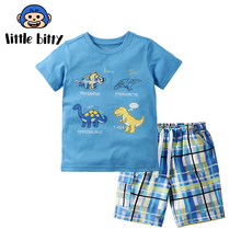 Children Sets Boy Cartoon Summer O-Neck T-Shirts Shorts Clothing Set Cotton Kids Outfits New Style Boys Clothes