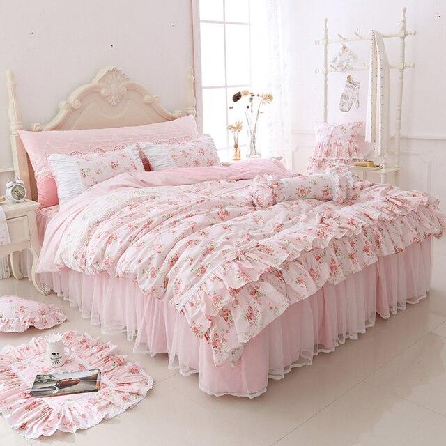 Bon 100% Cotton Floral Printed Princess Bedding Set Twin King Queen Size 4/6pcs  Pink