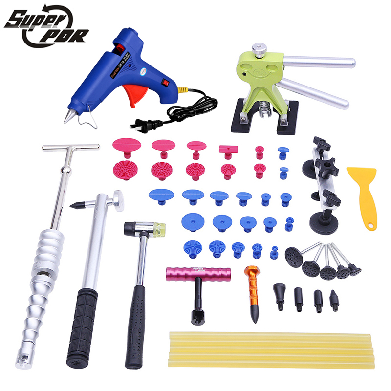 Super PDR Dent removal tools kit -glue gun dent puller slide hammer pulling bridge 42pcs hand tools -car body dent repair tools spot welding sheet metal tools spotter tools with slide hammer 393pieces ss 393