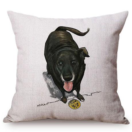 Pet Dog Animals Funny Style Cushion Cover Dachshund Schnauzer Dog Children Like Cotton Linen Sofa Decorative Throw Pillow Case M110-8