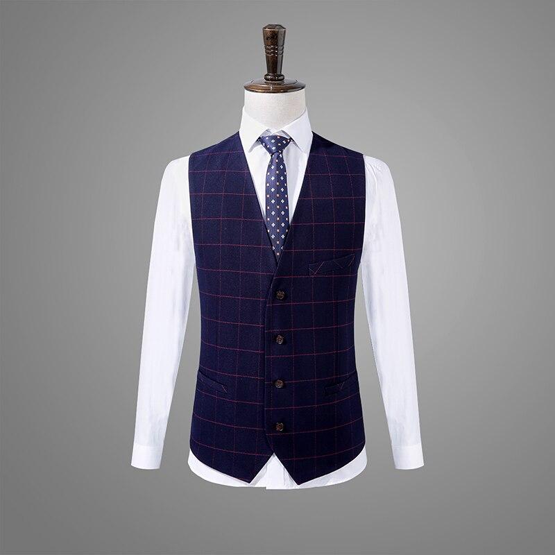 2019 новый мужской костюм на весну и осень, Костюм Джентльмена, модный костюм из трех предметов, трендовый деловой комфортный костюм [пальто, ж... - 5
