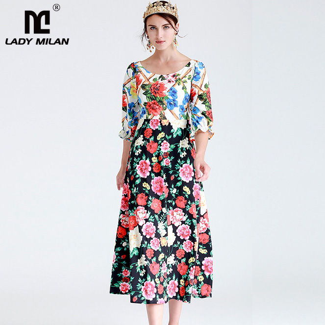 New Arrival Womens O Neck 3/4 Sleeves Floral Printed Patchwork Elegant Casual Fashion Mid Calf Dresses