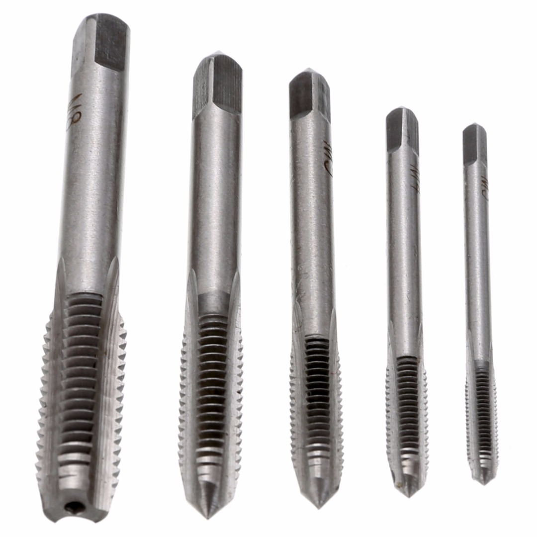 5PCS/Set HSS M3 M4 M5 M6 M8 Machine Spiral Point Straight Fluted Screw Thread Metric Plug Hand Tap Drill Set Hand Tools 5pcs hand screw tap screw thread m3 m4 m5 m6 m8 thread tool metric plug tap set drill set tap die