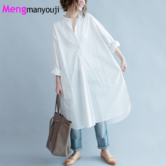 US $38.78 |Plus Size Autumn 100% Cotton White Shirt Dress Women Solid Color  Simple Long Sleeve Casual Loose Female Dresses Robe HS8933-in Dresses from  ...