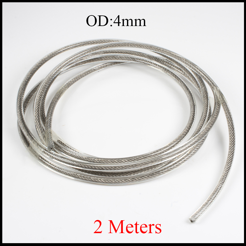 4mm OD Green Clear Transparent 304 Stainless Steel PVC Coated Hand Milling Grinding Machine String Flexible Lifting Wire Rope