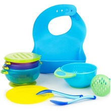 Baby Feeding set 8 Pack Gift for New Born Suction bowl 3size Silicone bib with Bonus Masher and 2 pcs spoon blue