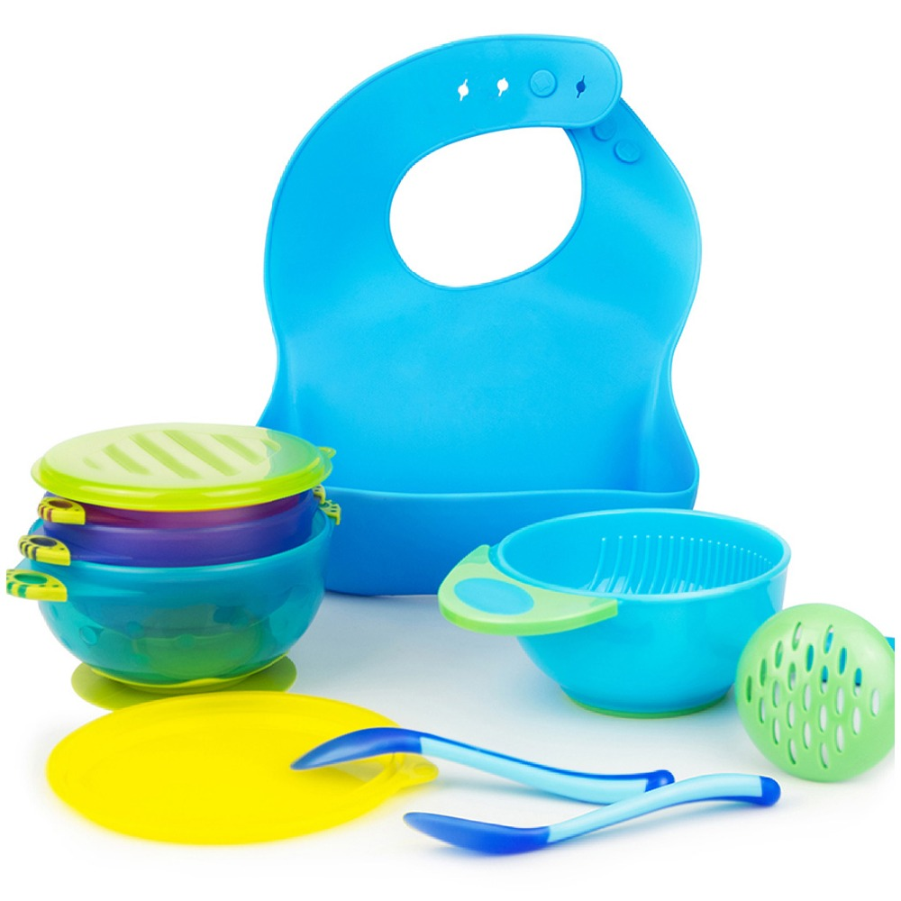Baby feeding set bowl silicone bib Masher bowl spoon blue