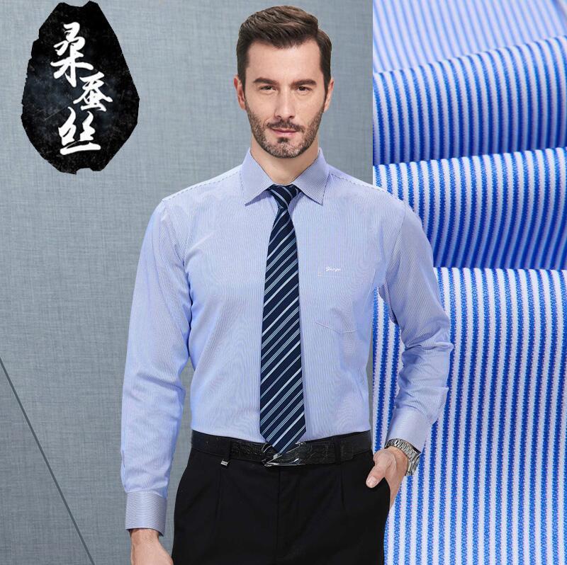 Chemises formelles chemise en soie hommes blouse à manches longues affaires grande taille