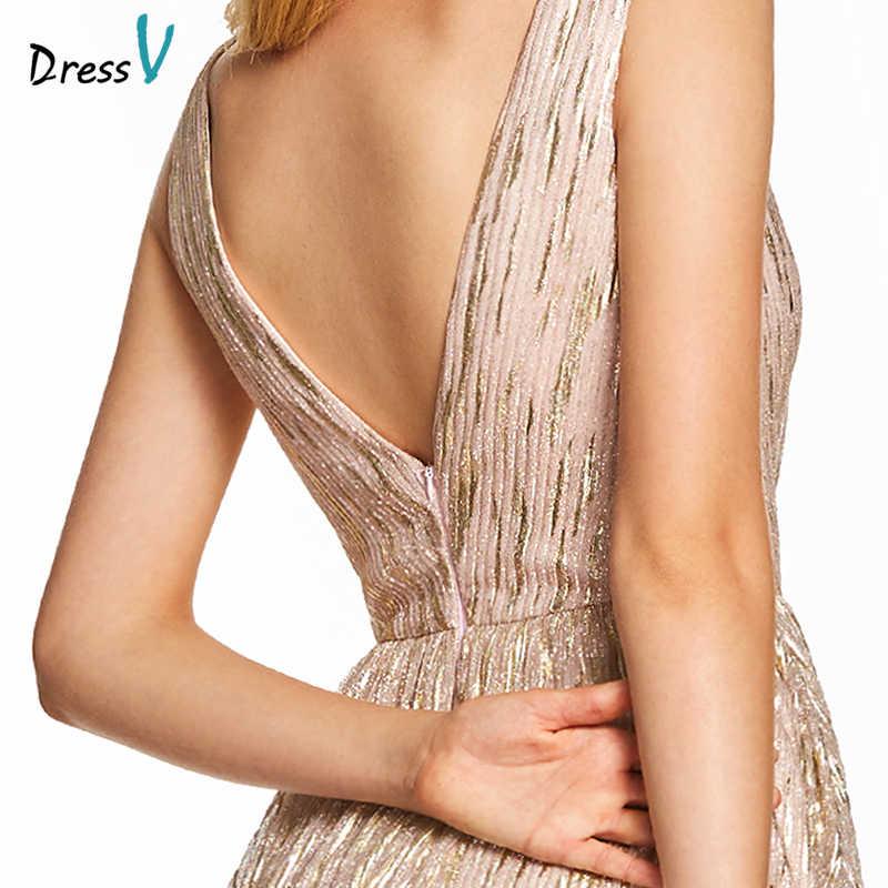 Dressv rosa abito da sera lungo doratura backless a buon mercato scollo a v da sposa del partito del vestito convenzionale una linea di tulle abiti da sera